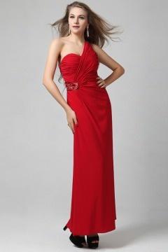 Robe rouge asymétrique bustier plissé empire à dos nu