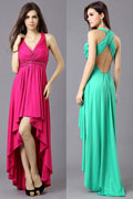 Sexy Chiffon V Neck A Line High Low Empire Cocktail Dress