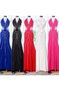 Chic Long Mermaid Halter Chiffon Sequins Evening Dress