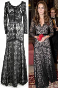 Kate Middleton long sleeves black lace dress