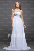 Beautiful Chiffon One Shoulder Sequin Flower A line Long School Formal Dress