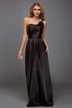 Sherborne Elastic Woven Flower Black Long Prom Gown