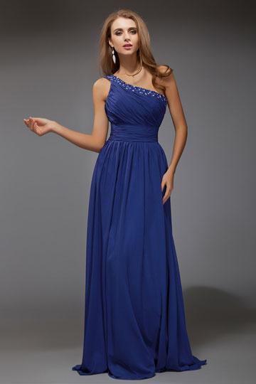 Vestido de noite em Chiffon azul pregueado decorado de jóias