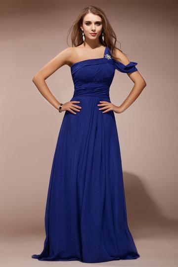 Vestido de noite azul em Chiffon pregueado um ombro