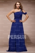 Graceful Chiffon One Shoulder Ruching Empire A line Long Formal Dress