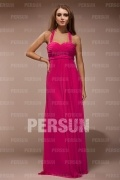 Beautiful Chiffon Halter Ruching Empire A line Long School Formal Dress