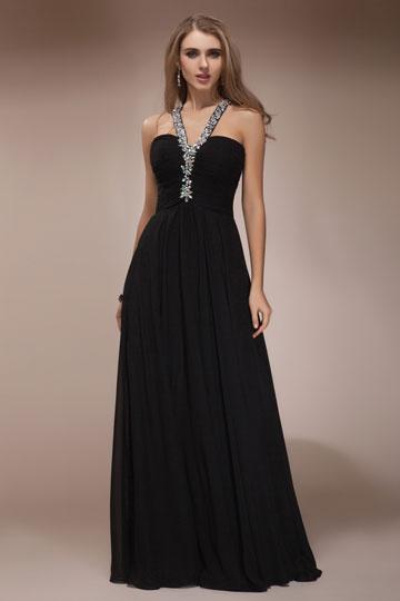 Vestido de noite preto decorado de jóias Império linha A