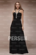 Chiffon V neck Beading Ruching Empire A line Long Formal Dress