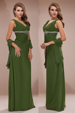 Shaftesbury GreenV neck Ruching Long Prom Dress