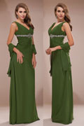 Elegant Chiffon V neck Ruching A line Long Prom / Evening Dress