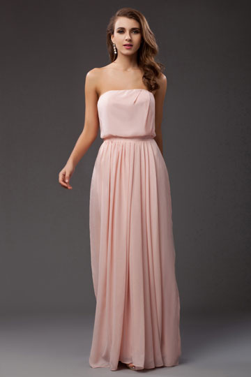 Dressesmall Chiffon Strapless Ruching Empire A line Long School Formal Dress