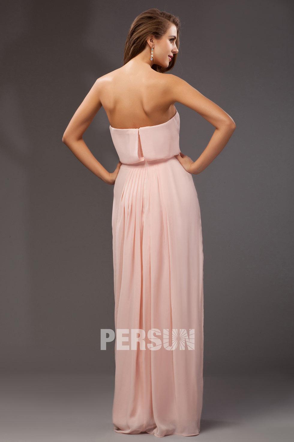 Simple robe longue bustier drapée & poudrée en mousseline