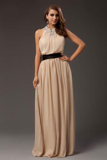 Dressesmall Beautiful Chiffon Halter Beading A line Long School Formal Dress