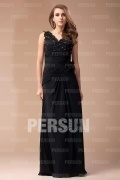 Elegant Chiffon V neck Lace Ruched A line Long Bridesmaid Dress