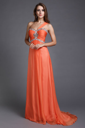 Dressesmall Beautiful One Shoulder Beading Ruching A line Long Prom Dress
