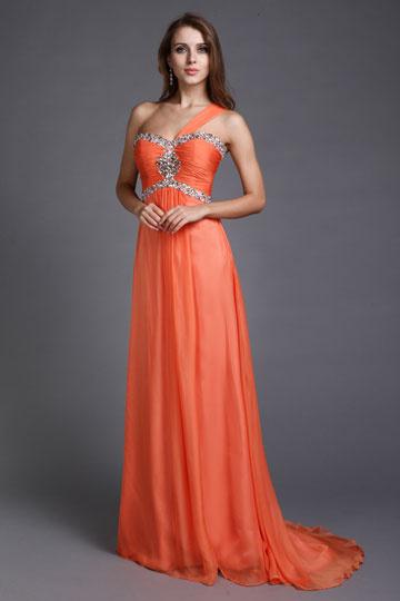 Vestido de noite laranja decorado de strass um ombro