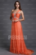 Beautiful One Shoulder Beading Ruching A line Long Prom Dress