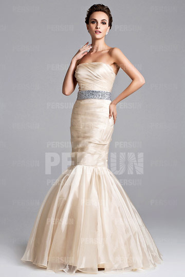 Dressesmall Tulle Strapless Beading Ruching Mermaid Celebrity Dress
