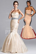 Tulle Strapless Beading Ruching Mermaid Celebrity Dress