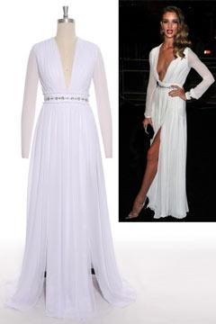 Fleet Sexy Deep V neck Split A line Long White Prom Dress