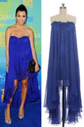 30DChiffon Strapless Ruffle Sheath Celebrity Dress