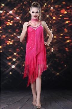 Robe rouge danse latine avec bretelles à franges