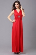 Sexy V Neck Beading A Line Jersey Red evening Dress Cheap