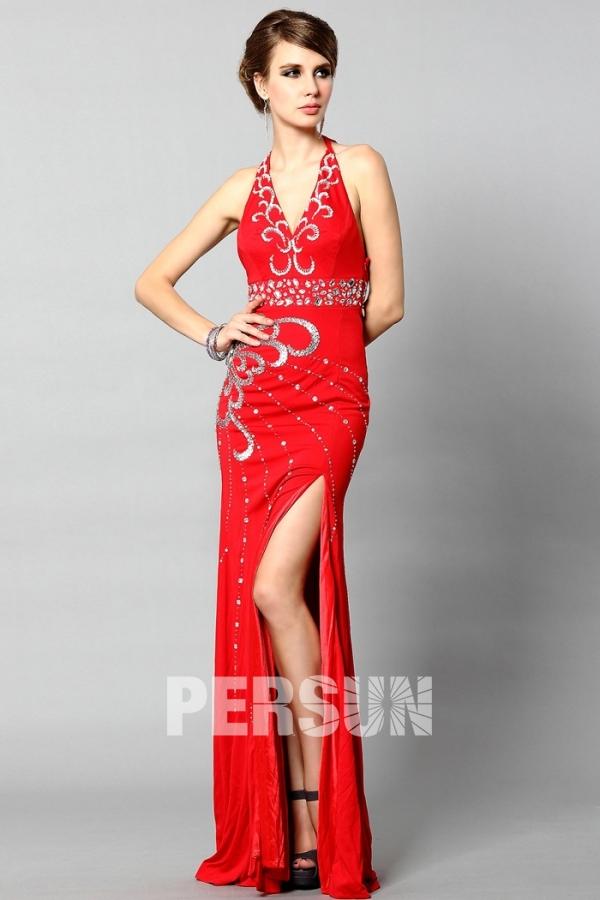 achat robe se soirée rouge longue bretelle cou avec fente pas cher