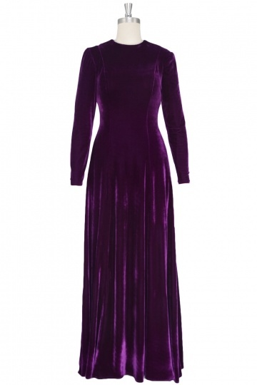 Dressesmall Fashion Velvet Round Neck A line Celebrity Dress