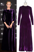 Fashion Velvet Round Neck A line Celebrity Dress