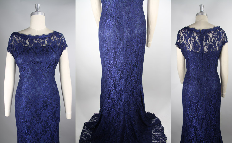 blue lace round neck celebrity dress details