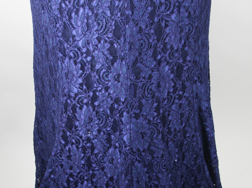 blue round neck celebrity dress lace details