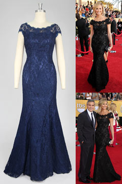 Popular Lace Round Neck Mermaid Celebrity Dress