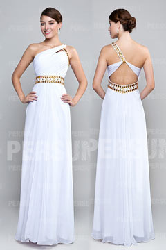 A line Simple Empire One shoulder White Cocktail Dresses