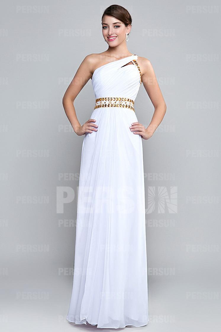 Günstig Empire Chiffon A-Linie ein Schulter weißes Abendkleid ...