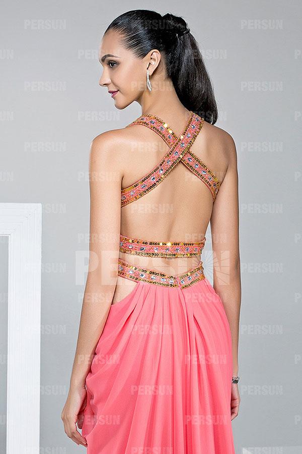 Robe habillée plissée ornée de strass avec bretelle croisée au dos