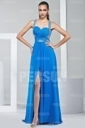 Sexy Backless Split A line Chiffon Blue Long Formal Dress