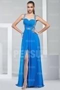Elegantes Halter blaues A-Linie langes Abendkleid aus Chiffon