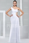 Sexy One shoulder Chiffon Cut out White Formal Evening Dress