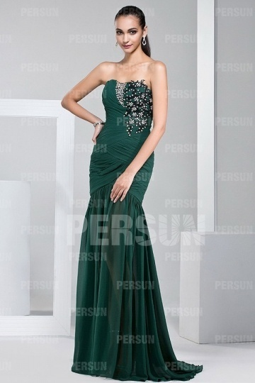 Gunstig Elegantes Tragerloses Grunes Langes Armelloses Abendkleid Aus Chiffon Online Verkauf Persun