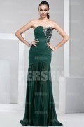 Elegant Strapless Appliques Beading Green Long Chiffon Formal Dress
