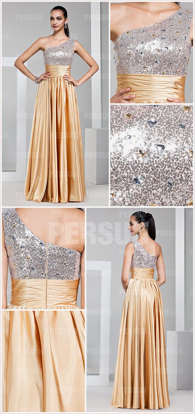 Gorgeous long color block empire a line one shoulder sequined golden formal dress detail design