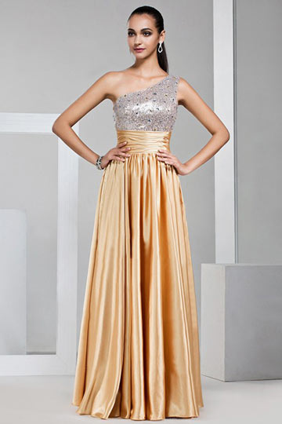 Dressesmall Gorgeous One shoulder Sequined Golden School Formal Dress