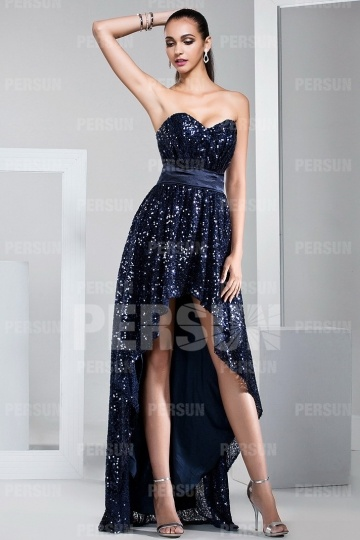 Sequins High Low Herz-Ausschnitt langes Ballkleid Persun