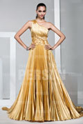 Gorgeous One shoulder Pleated Pageant Formal Evening Dress