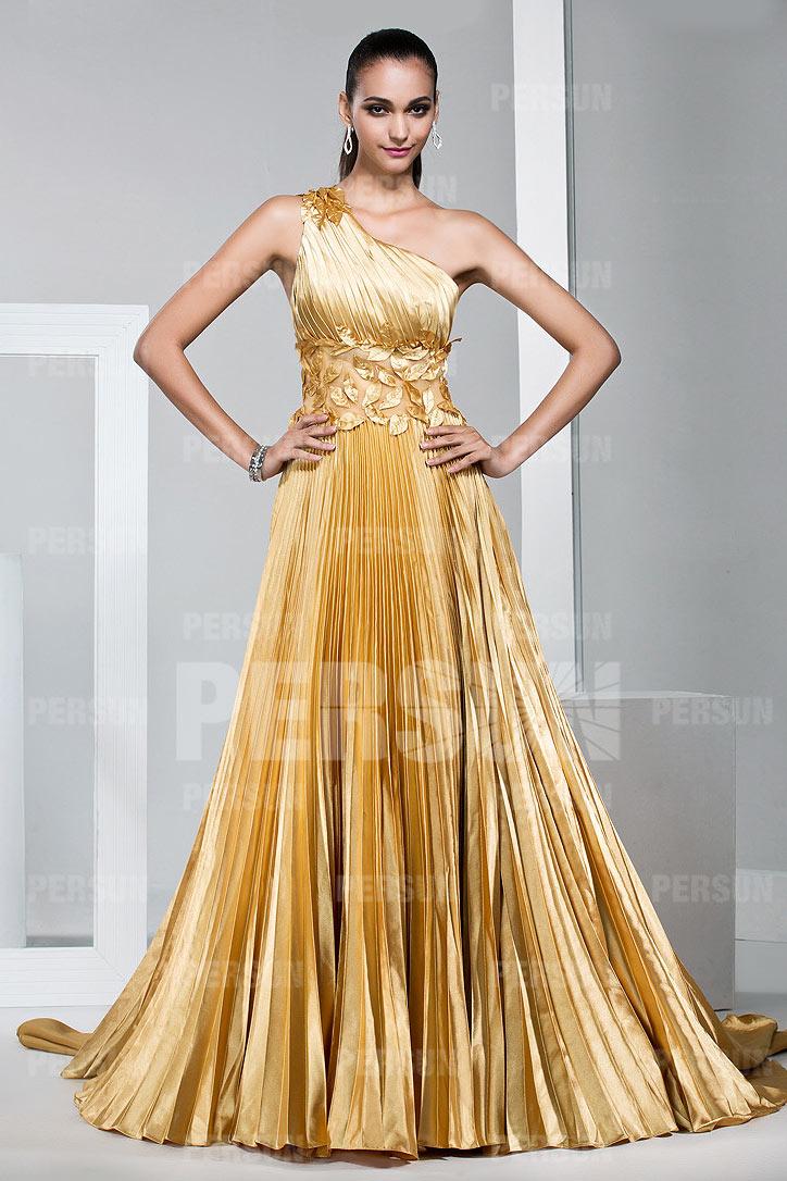 Günstig Luxus gold Ein Schulter plissiert Abendkleider ...