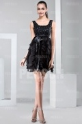 Mini Column Evening dress with ruffle skirt and sash in satin