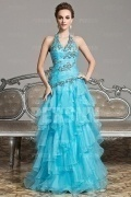 Open back V neck Ruffles Full Length Formal Dress