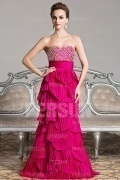 Mordern Strapless Beading Column Full Length Formal Evening Dress