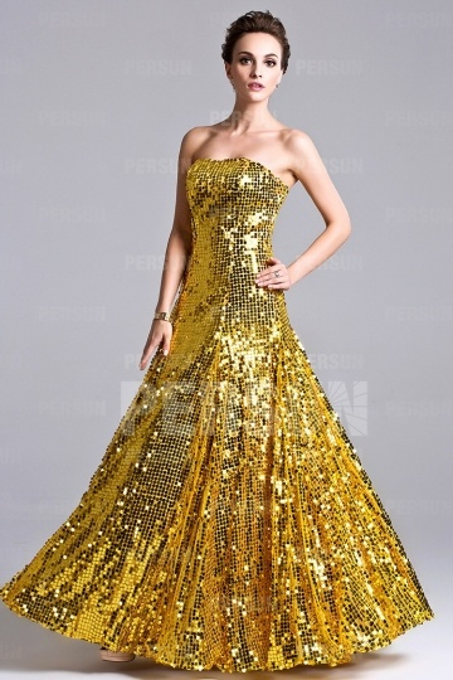 Dressesmall Sparkling Sequined Full length Formal Evening Dress Trendy